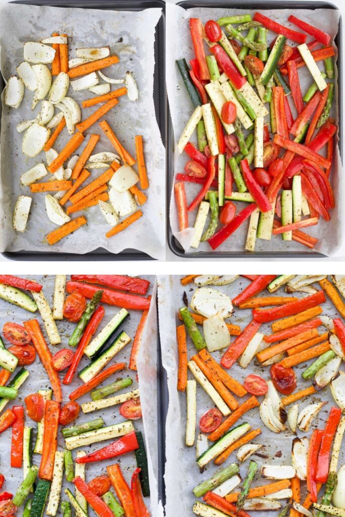 Roasted Vegetables on Tray Before and After Cooking