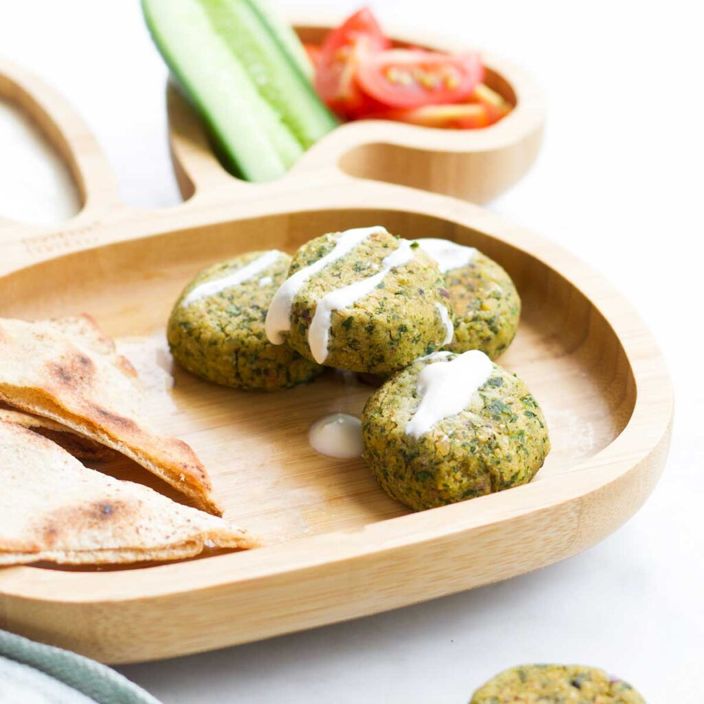 Falafel with Yoghurt Dip on Toddler Bunny Shape Plate with Pita Bread, Cucumber and Tomato