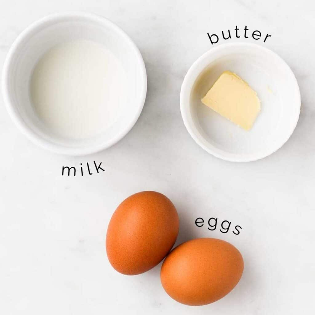 Flat lay of Ingredients for Scrambled Eggs