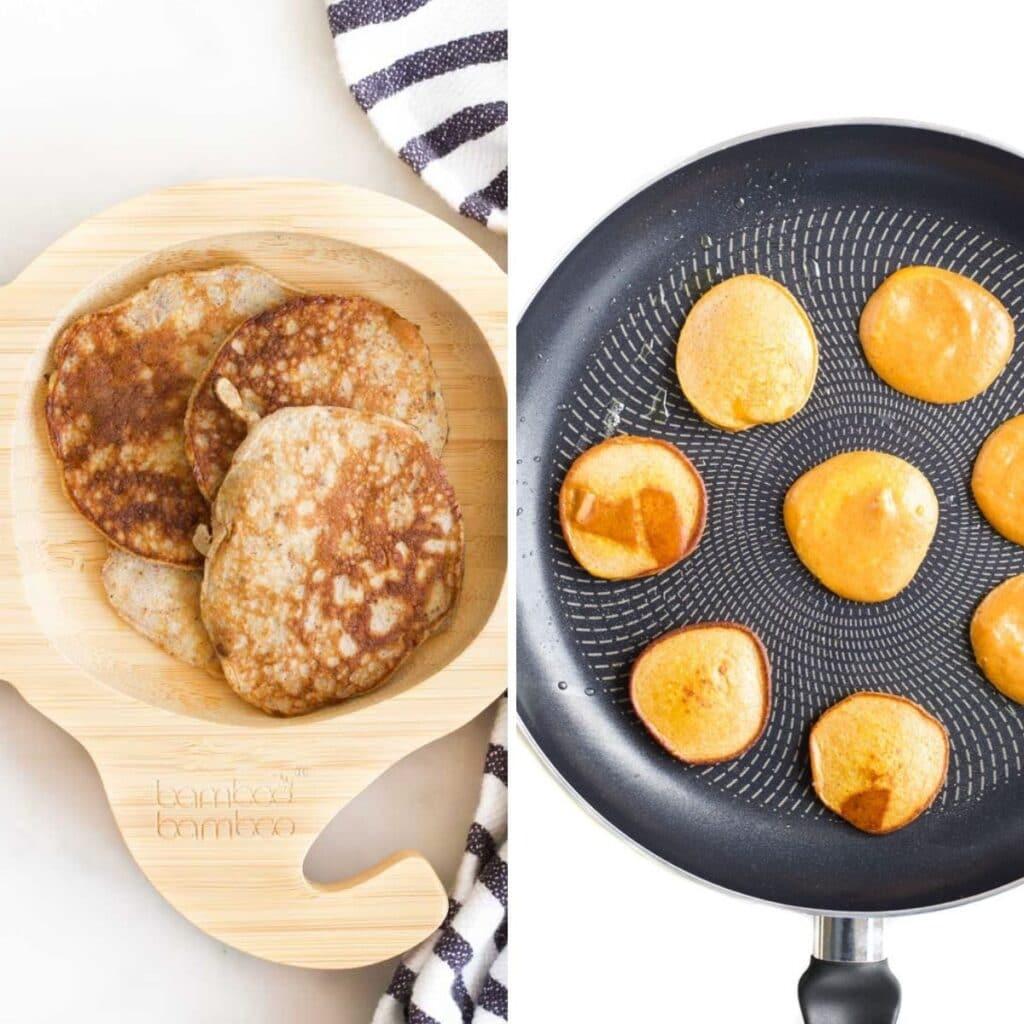 Collage of 2 images 1) banana egg pancakes 2)sweet potato egg pancakes