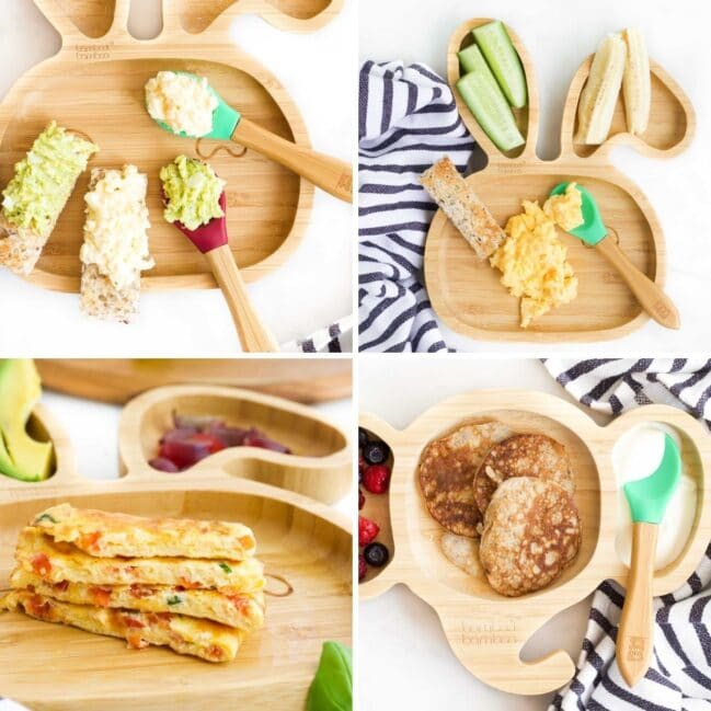 Collage of 4 Images Showing Baby Friendly Egg Recipes (mashed egg, scrambled egg, omelette fingers and banana egg pancakes)