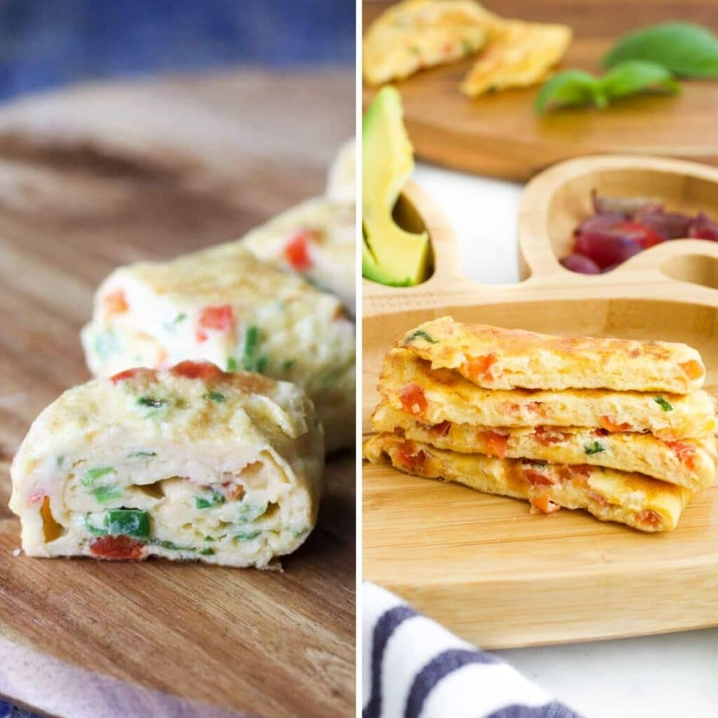Collage of 2 Omelette Images. Image 1 Omelette Rolls on Wooden Chopping Board and Image 2 Omelette Fingers