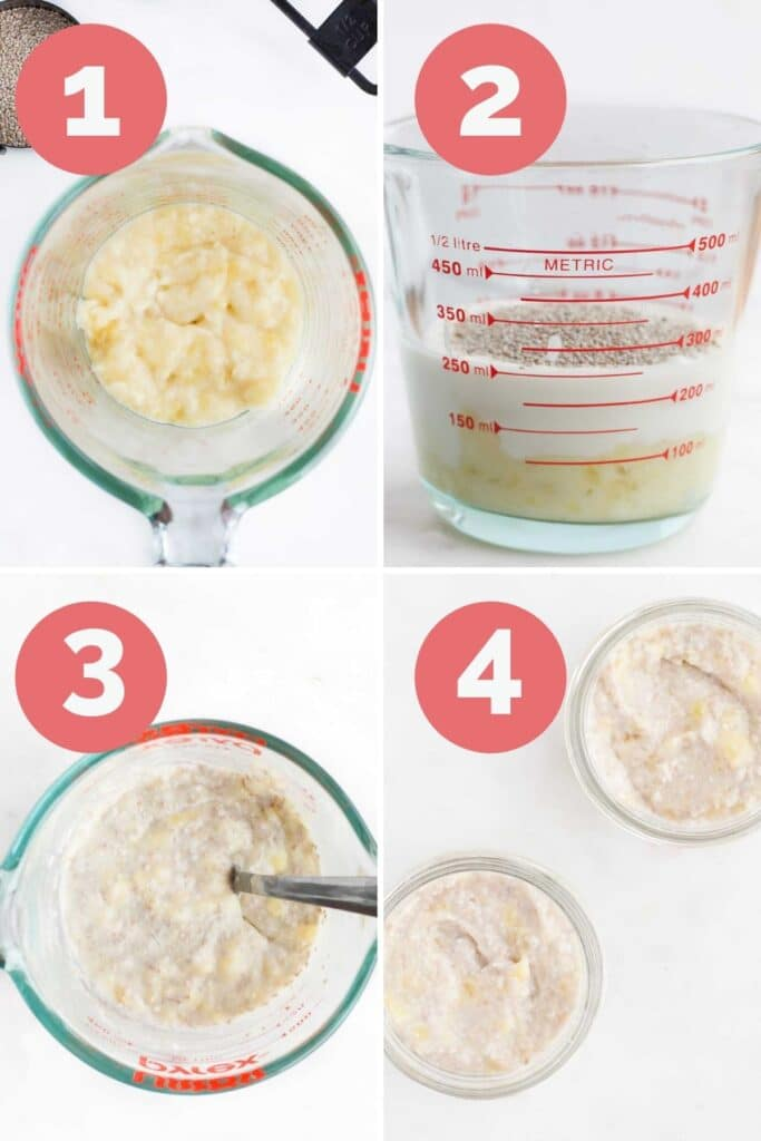 Collage of 4 Images Showing Process Steps for Making Banana Chia Puddings 1) Mash Banana 2)Add Ingredients to Jug 3) Mix 4) Transfer to Serving Dishes