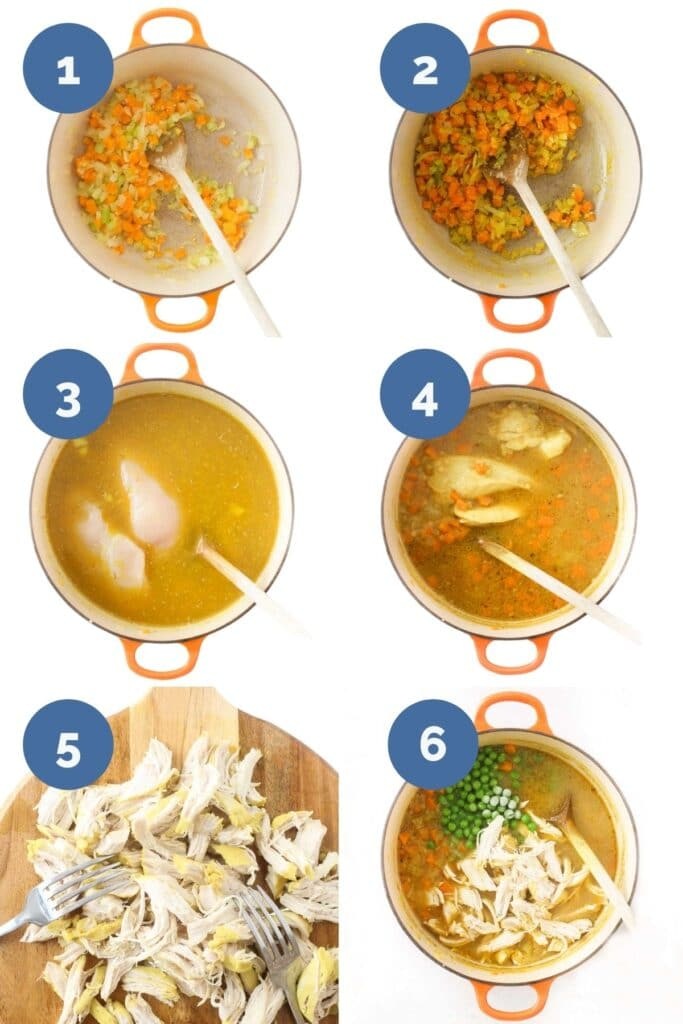 Collage of Six Images Showing Process Shots for Making Chicken Soup