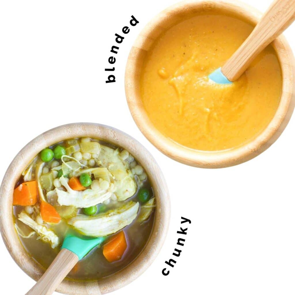 Top Down of Two Wooden Baby Bowls of Soup (Chunky Chicken and Vegetable, Blended Lentil)