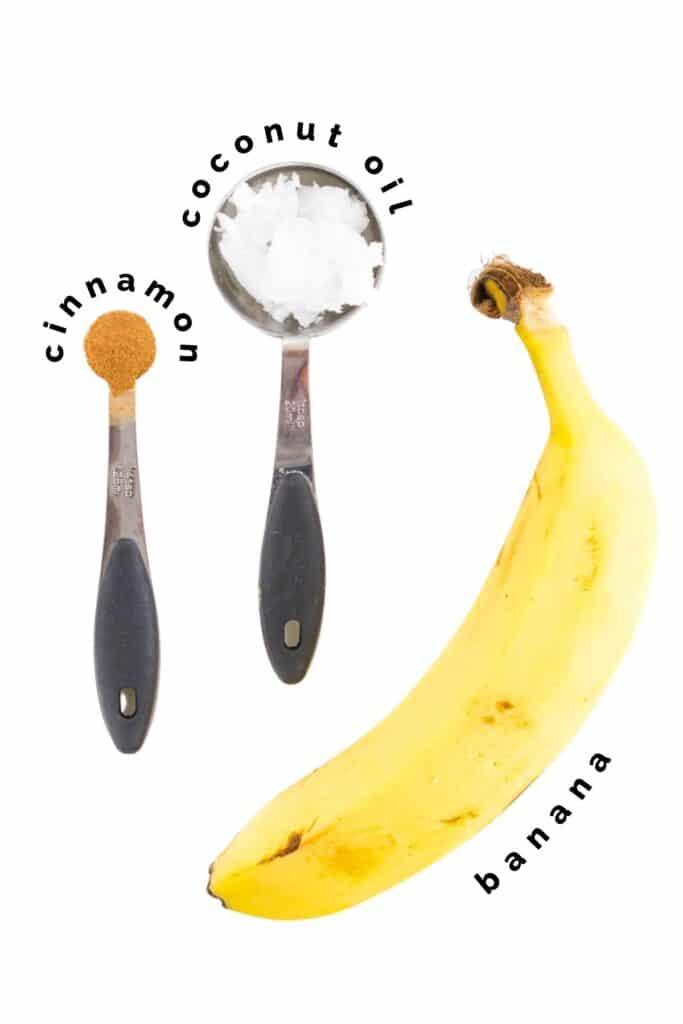 Flat Lay of Ingredients Needed to Make Pan Fried Cinnamon Bananas