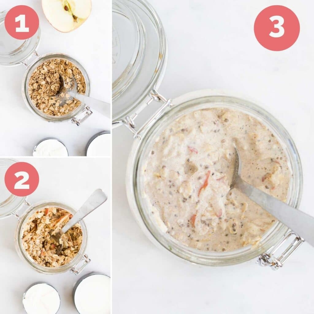 Collage of 3 Images Showing How to Make Apple Overnight Oats 1) Oats, chia seeds and spices mixed in jar 2) Grated Apple Added and Mixed 3) Yogurt and Milk added and mixed