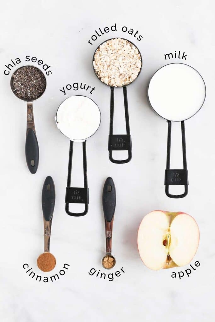 Flat Lay of Ingredients Needed to Make Apple Overnight Oats