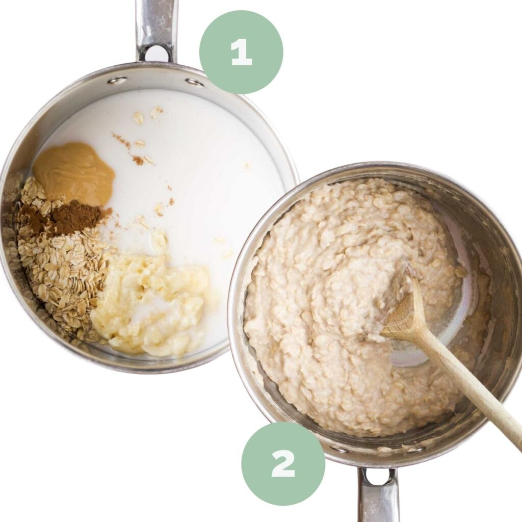 Image of 2 Pans. Pan 1 Porridge Ingredients uncooked and Pan 2 Porridge cooked