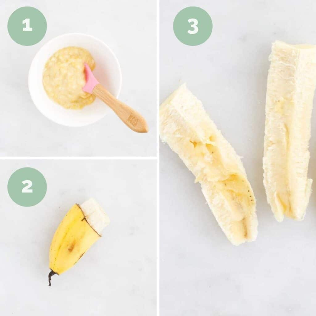 Collage of 3 Images Showing How to Serve Banana to a Baby (mashed, banana skin handle and banana spears)
