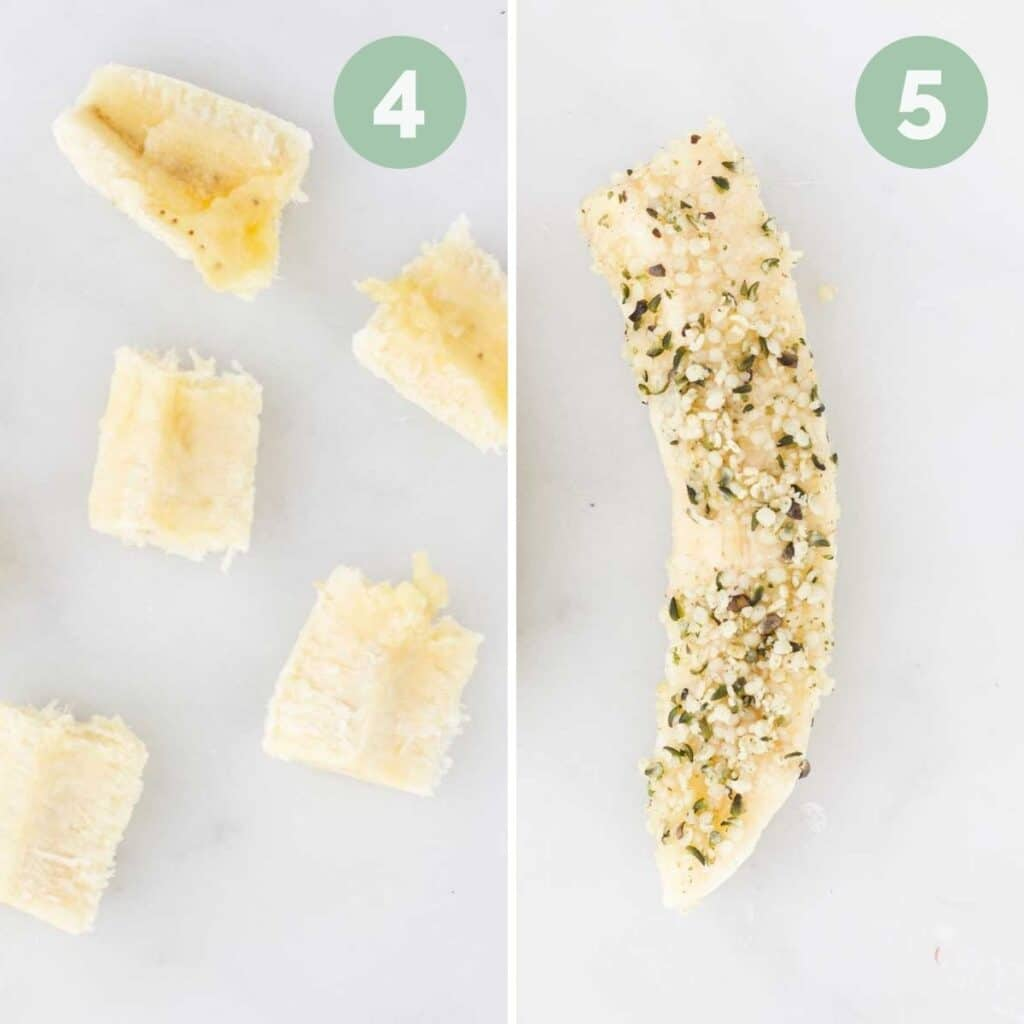 Collage of Two Images 1) Banana Cut in Chunks 2)Banana Spear Rolled in Hemp Seeds