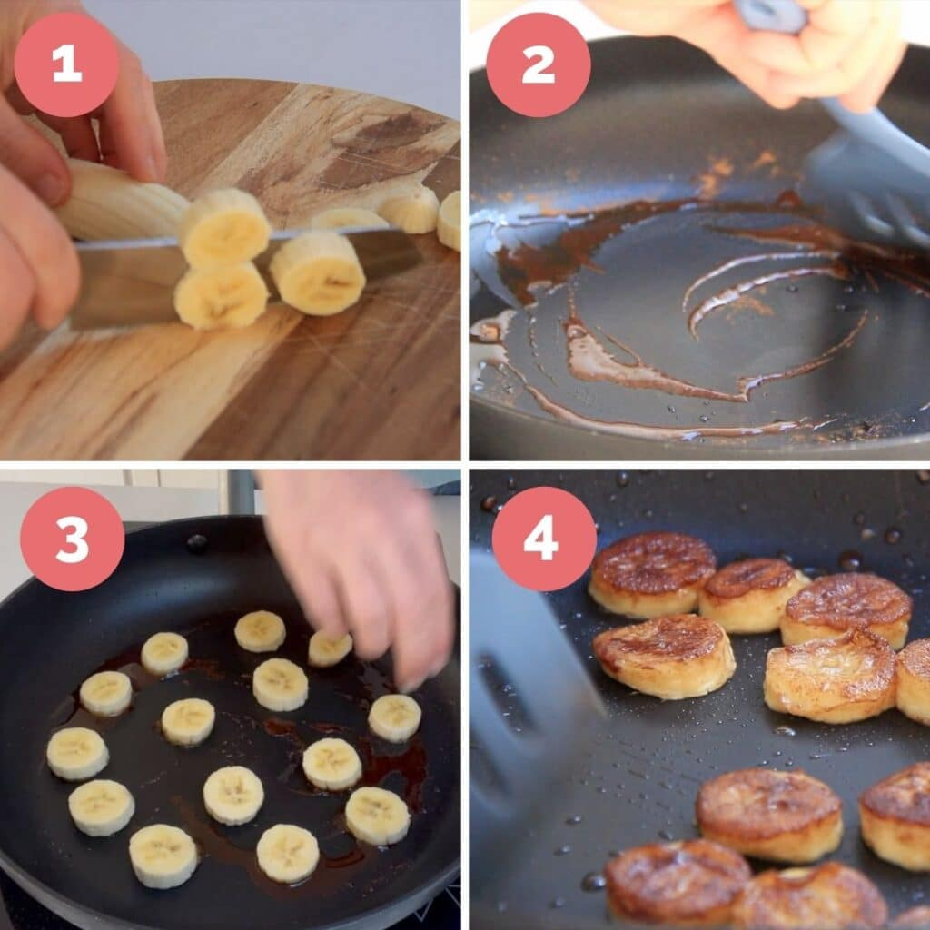 Collage of 4 Images Showing How to Make Cinnamon Bananas