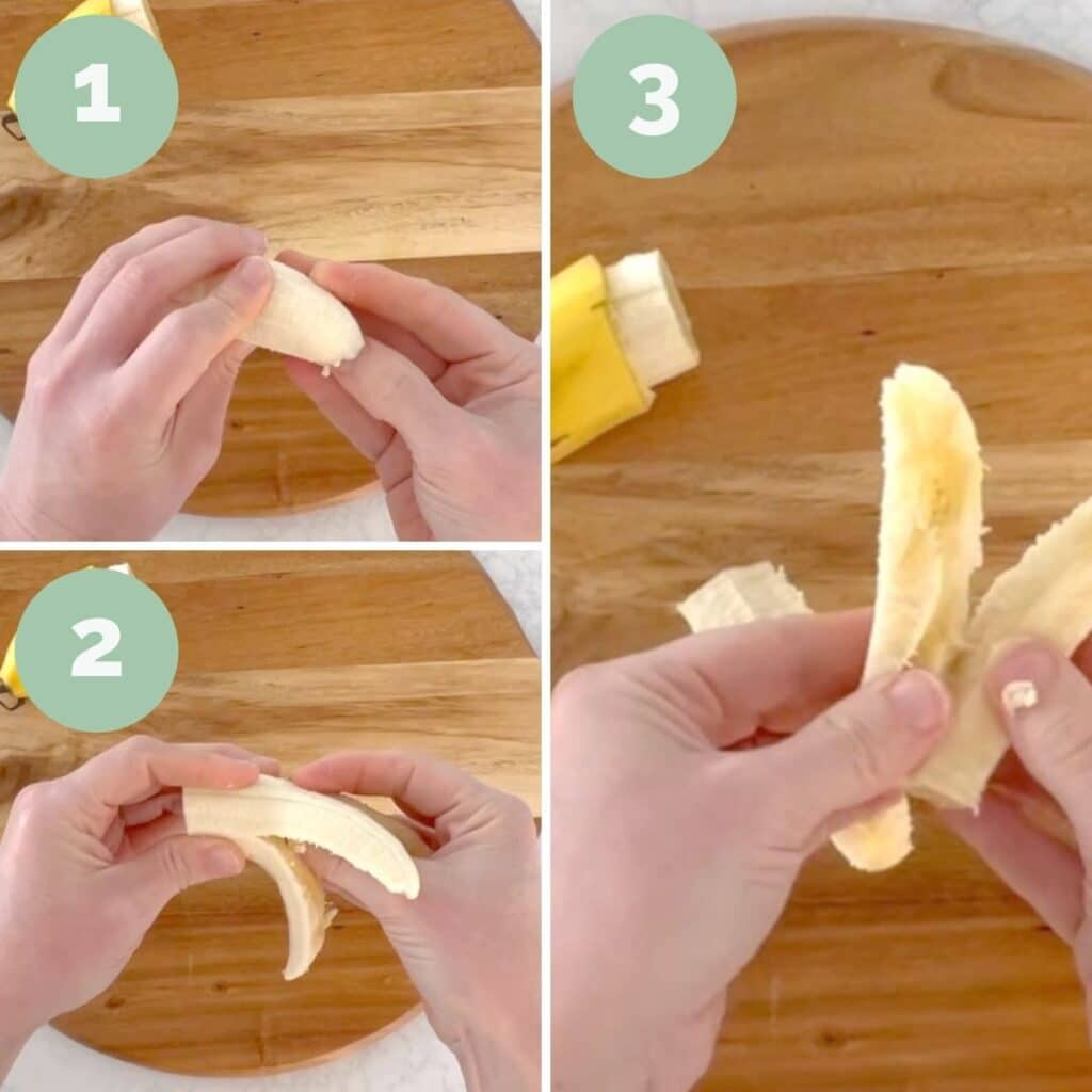 Collage of 3 Images Showing How to Make Banana Spears