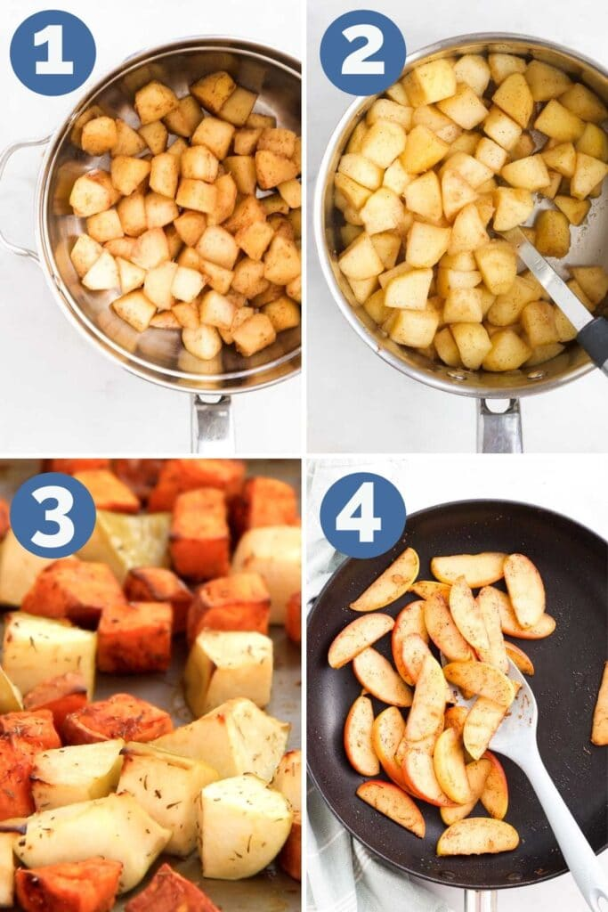 Collage of 4 Images Showing How to Soften Apples. 1)Steam 2)Simmer 3)Roast 4)Saute