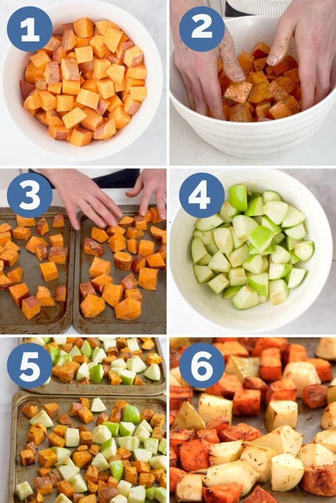 Collage of 6 Images Showing Process Steps for Making Sweet Potato and Apple Tray Bake