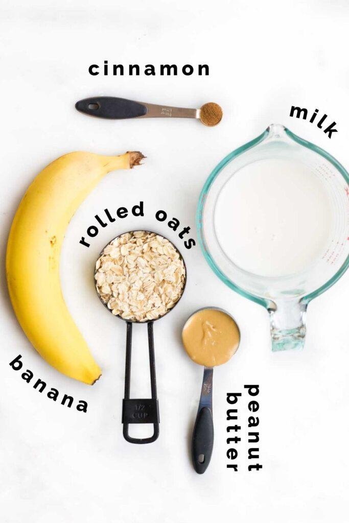 Flat Lay of Ingredients Needed to Make Banana Porridge