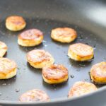 Pan Fried Banana Slices in Non Stick Frying Pan