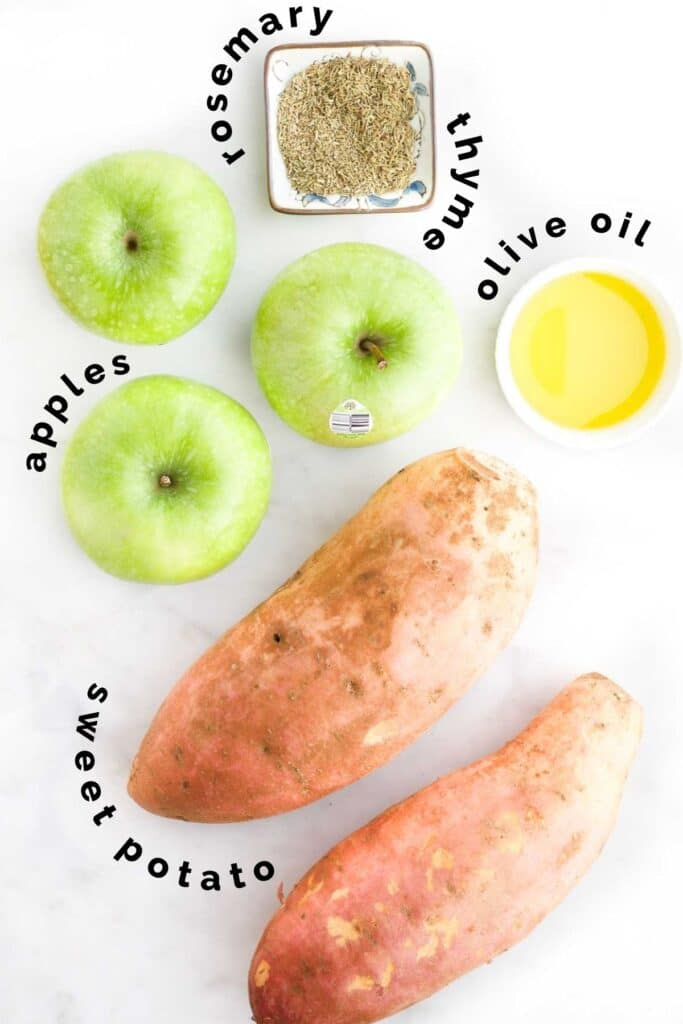 Flat Lay of Ingredients Needed to Make Roasted Sweet Potato and Apple