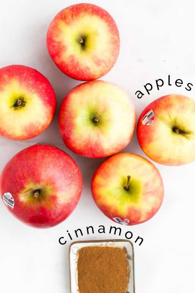 Flat Lay Image of 6 Apples and Small Dish of Cinnamon