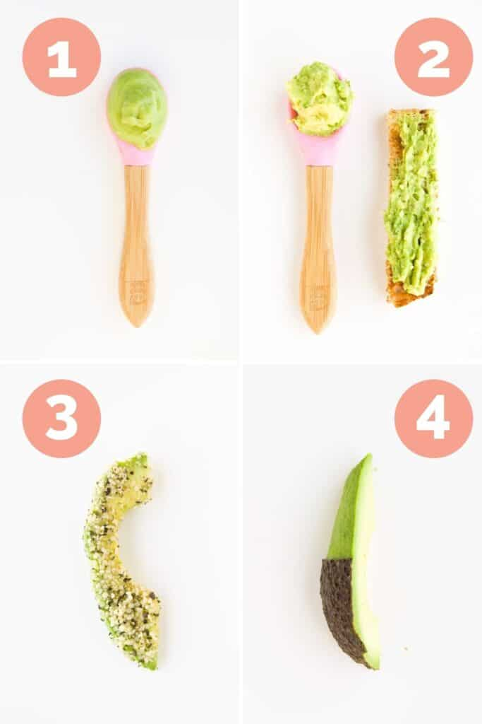 Collage of Four Images Showing Ways to Serve Avocado to a Baby