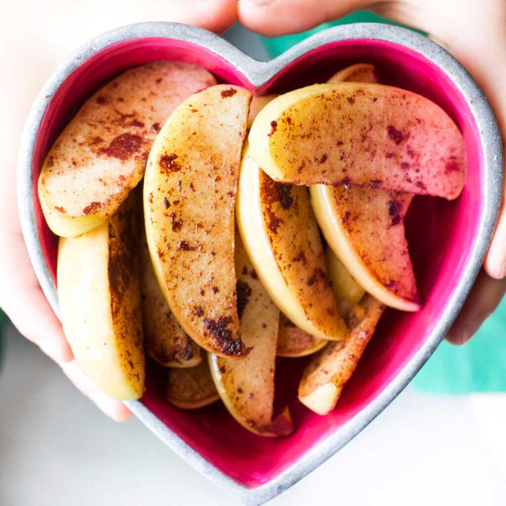 Cinnamon Apple Wedges in Heart Shaped Bowl
