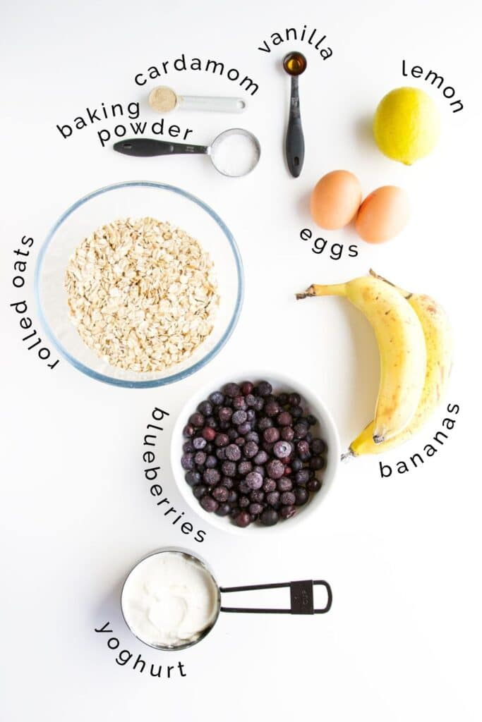 Flat Lay of Baby Blueberry Muffins Ingredients (Labelled)