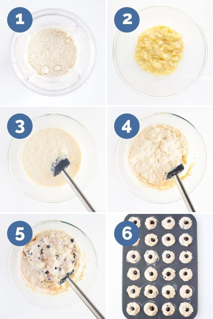 Collage of 6 Images Showing How to Make Baby Blueberry Muffins