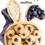 """Blueberry Muffin Pinterest Toddler Bunny Plate of Blueberry Muffins with Text Overlay """"Baby Blueberry Muffins"""""""