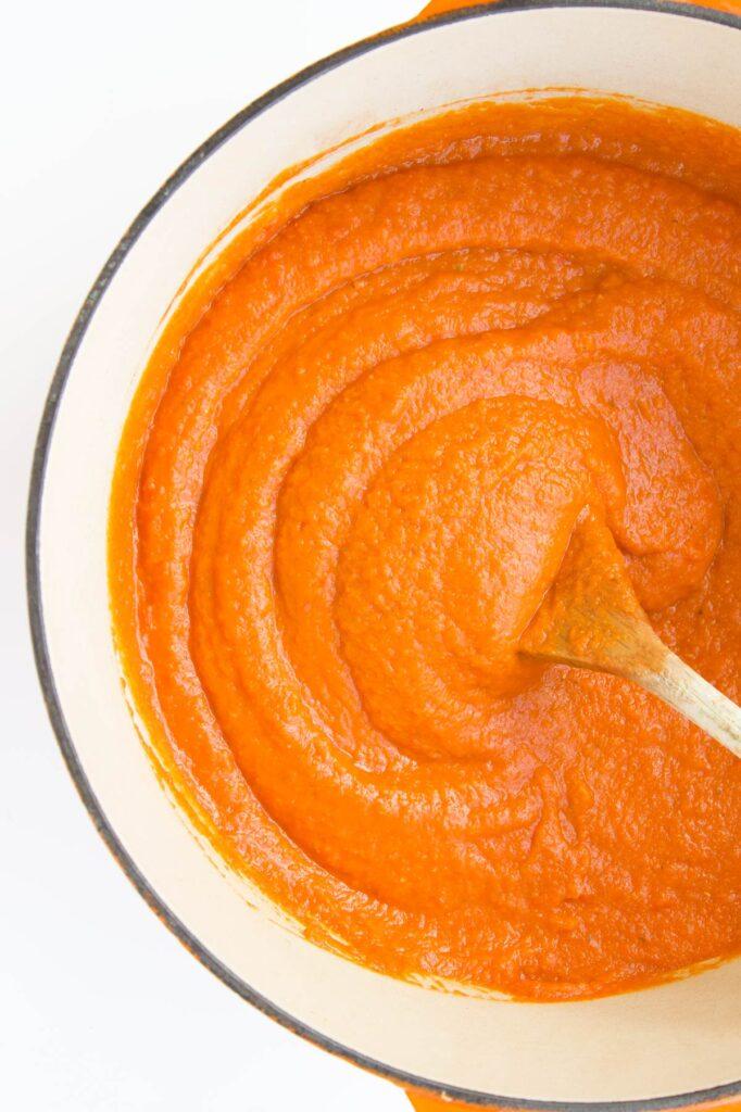 Blended Lentil and Vegetable Pasta Sauce in Pan