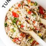 """Bowl of Tuna Rice Salad with Wooden Salad Spoons. Text Overlay """"Tuna Rice Salad"""""""