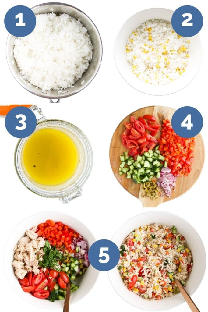 Six Process Shot Photos for How to Make Tuna Rice (1) Rice Cooked in Pan (2) Rice and Sweetcorn Mixed (3) Dressing Ingredients Mixed (4) Salad Ingredients Chopped (5) All Ingredients in Bowl (6) Ingredients Mixed Together