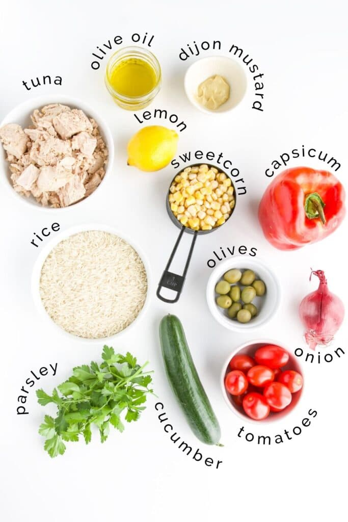 Flat Lay of Ingredients Needed to Make Tuna Rice Salad
