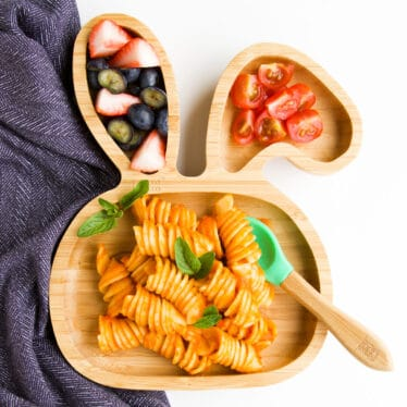 Baby Pasta on Bunny Wooden Baby Plate