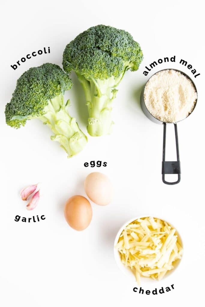 Flat Lay of Ingredients Needed to Make Broccoli Tots (labelled)