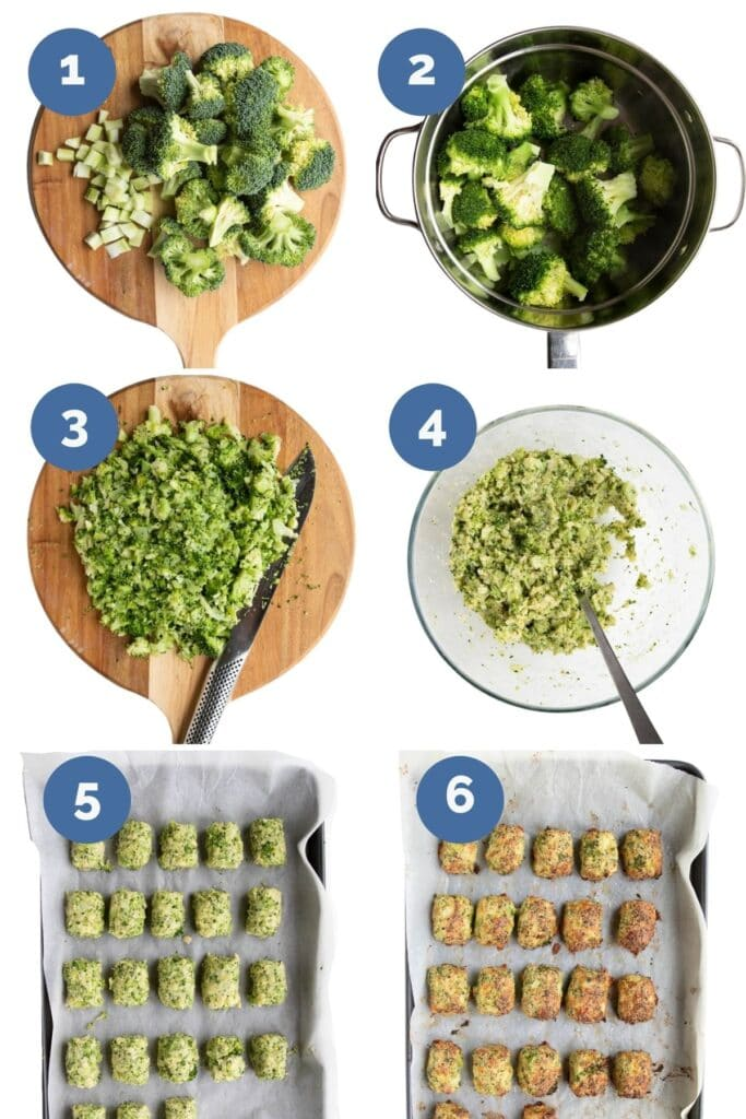 Collage of Six Images Showing How to Make Broccoli Tots