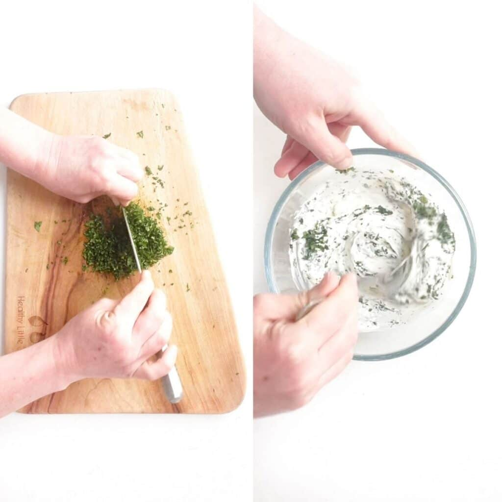 Collage of 2 Images 1)Chopping Mint on Chopping Board 2)Mixing Yogurt Dip Ingredients in Bowl