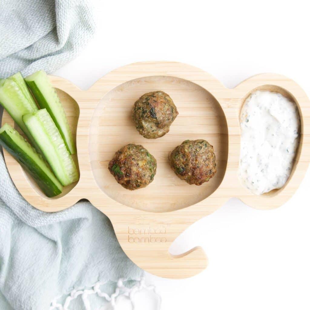 Toddler Wooden Elephant Plate With Meatballs, Cucumber Sticks and Mint Yogurt Dip