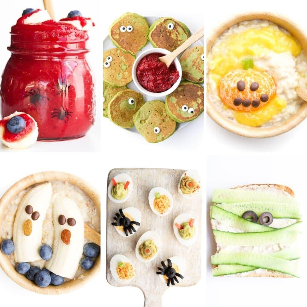 Collage of 6 Halloween Breakfast Ideas 1) Blood Shot Eye Smoothie 2) Monster Pancakes 3) Pumpkin Oatmeal 4) Banana Ghost Oatmeal 5) Halloween Eggs 6)Mummy Toast