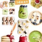 """Collage of Halloween Breakfast Ideas with Text Overlay """"Halloween Breakfast Ideas"""" Pinterest Pin"""