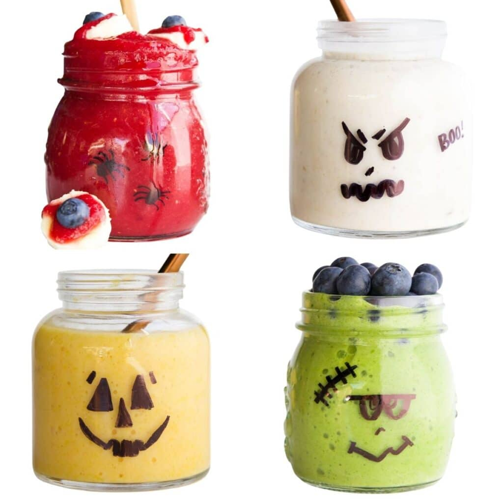Halloween Breakfast Smoothies (Bloodshot Eye, Ghost, Pumpkin, Frankenstein)