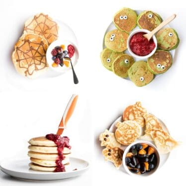 Collage of 4 Halloween Pancake Ideas 1) Spiderweb, 2) Monster, 3) Blood Knife 4)Halloween Cookie Cutter Pancakes