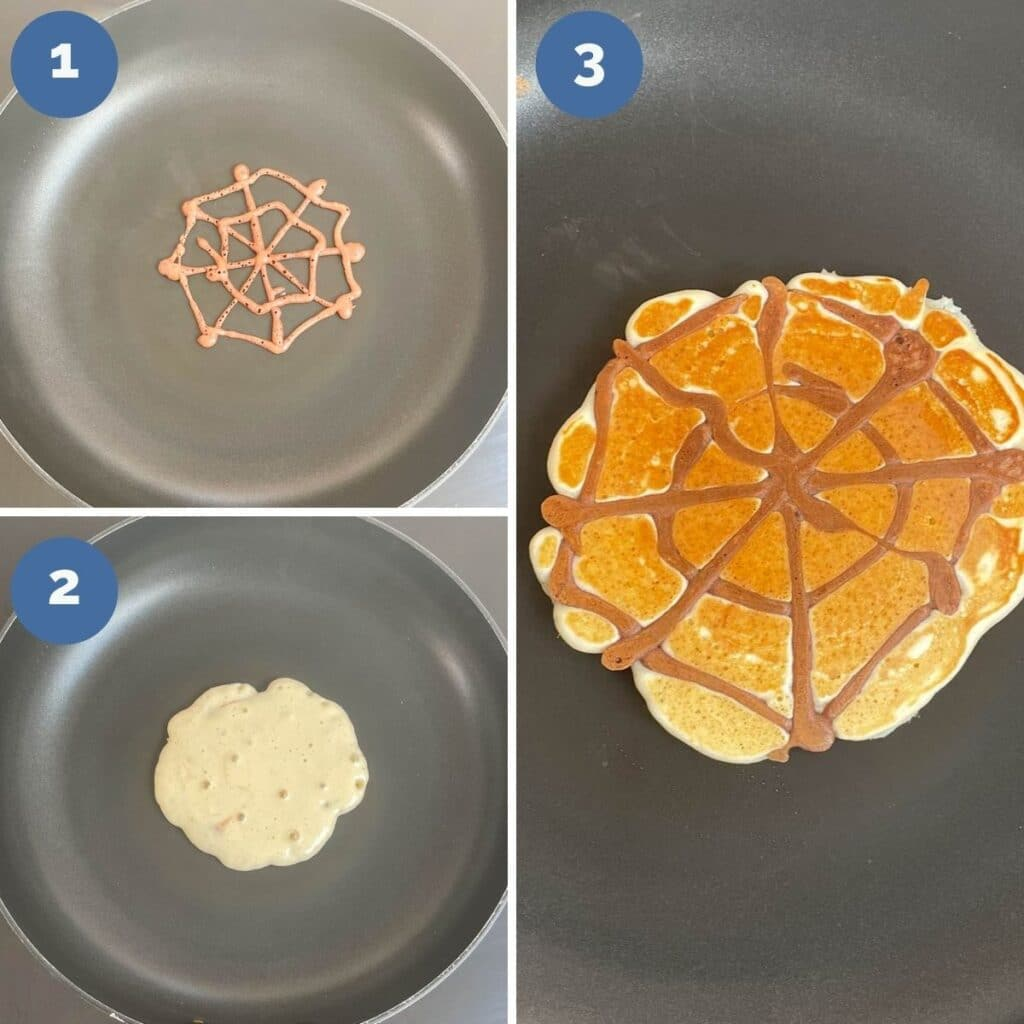 Collage of 3 Images SHowing How to Make Spider Web Pancakes (Make web, Fill, Flip)